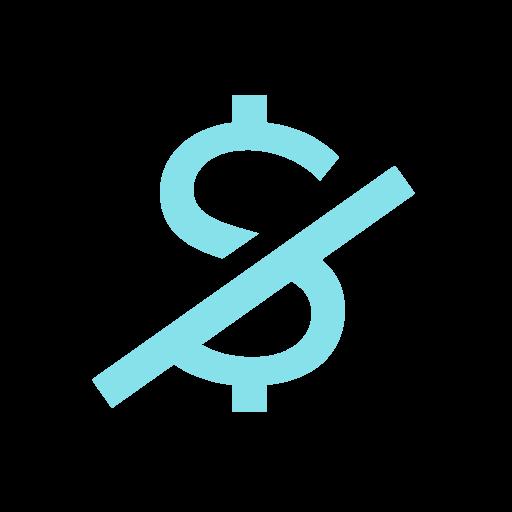 Dollar sign with diagonal slash going through it